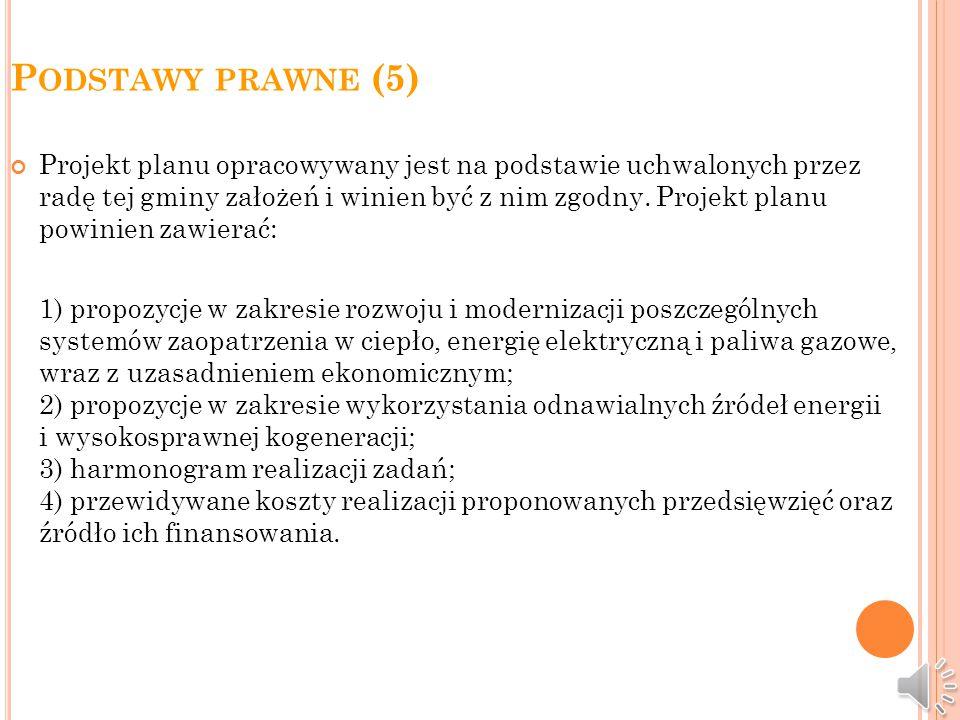 P ODSTAWY PRAWNE (4) Przedsiębiorstwa energetyczne udostępniają nieodpłatnie wójtowi (burmistrzowi, prezydentowi miasta) plany energetyczne w zakresie dotyczącym terenu tej gminy oraz propozycje niezbędne do opracowania projektu założeń.
