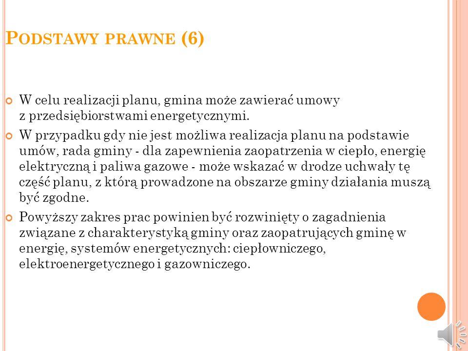 P ODSTAWY PRAWNE (5) Projekt planu opracowywany jest na podstawie uchwalonych przez radę tej gminy założeń i winien być z nim zgodny. Projekt planu po