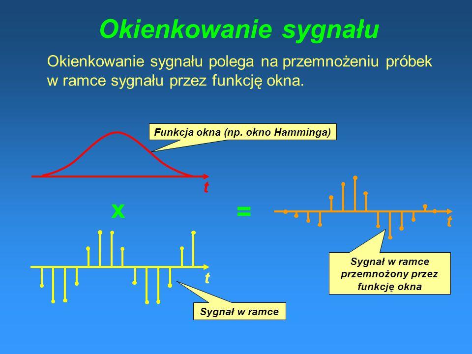 Parametry MFCC (mel-cepstralne) 1) Blokowanie sygnału w ramki, okienkowanie oknem Hamminga 2) Przeprowadzenie FFT na zokienkowanych ramkach sygnału 3)