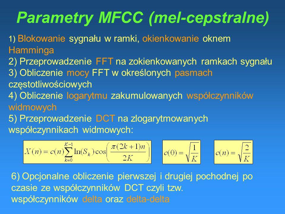"""Mel-Frequency Cepstral Coefficients (MFCC) """"Obliczenie mocy FFT w określonych pasmach częstotliwościowych"""" Częstotliwości środkowe w tych pasmach są r"""