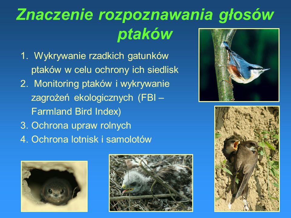 1.Wykrywanie rzadkich gatunków ptaków w celu ochrony ich siedlisk 2.