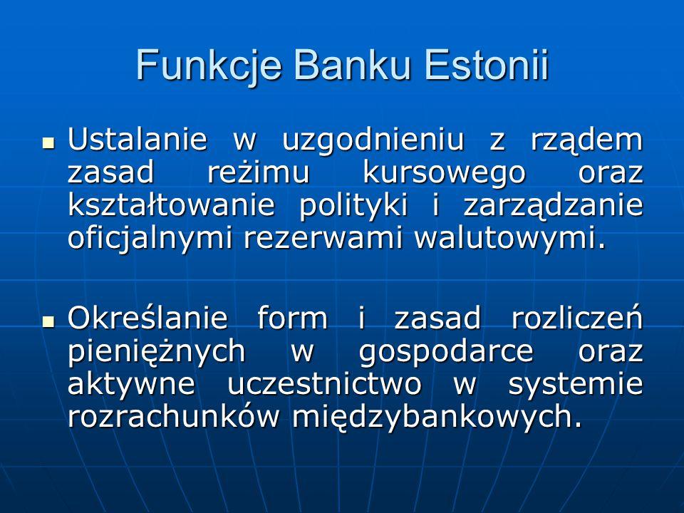 Funkcje Banku Estonii Ustalanie w uzgodnieniu z rządem zasad reżimu kursowego oraz kształtowanie polityki i zarządzanie oficjalnymi rezerwami walutowy