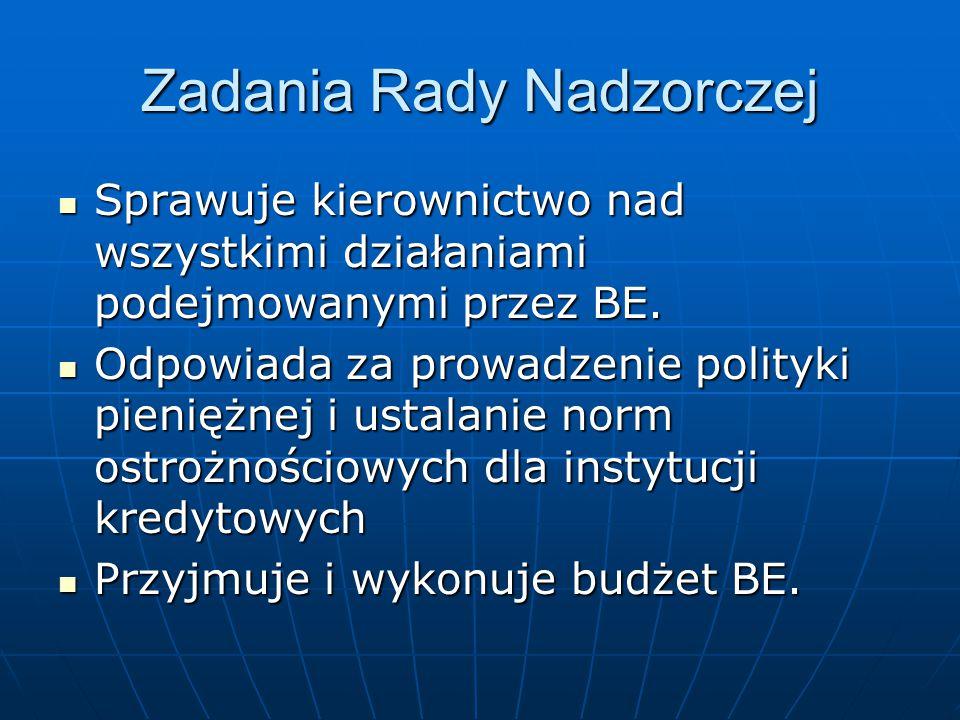 Zadania Rady Nadzorczej Sprawuje kierownictwo nad wszystkimi działaniami podejmowanymi przez BE. Sprawuje kierownictwo nad wszystkimi działaniami pode
