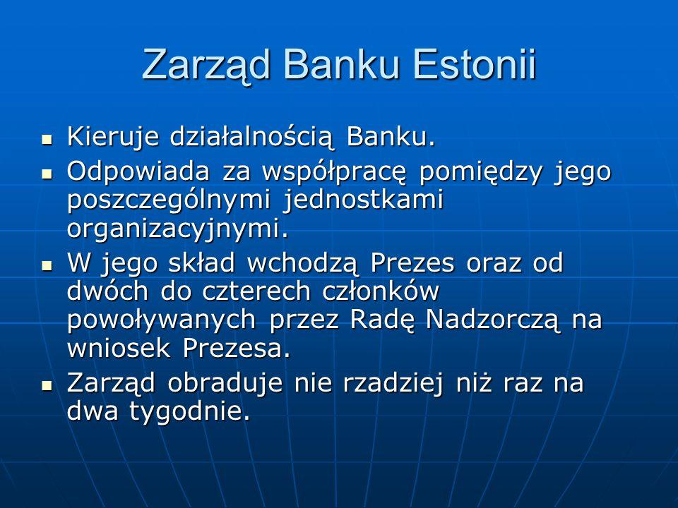 Zarząd Banku Estonii Kieruje działalnością Banku. Kieruje działalnością Banku. Odpowiada za współpracę pomiędzy jego poszczególnymi jednostkami organi