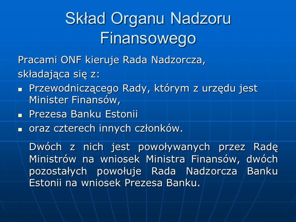 Skład Organu Nadzoru Finansowego Pracami ONF kieruje Rada Nadzorcza, składająca się z: Przewodniczącego Rady, którym z urzędu jest Minister Finansów,