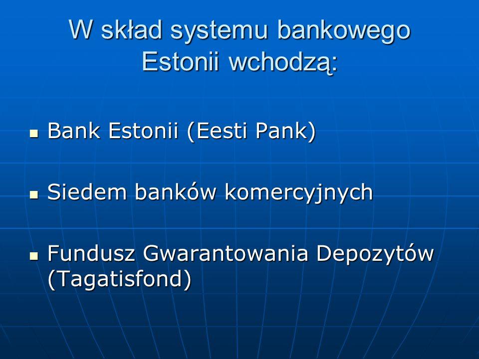 W skład systemu bankowego Estonii wchodzą: Bank Estonii (Eesti Pank) Bank Estonii (Eesti Pank) Siedem banków komercyjnych Siedem banków komercyjnych F