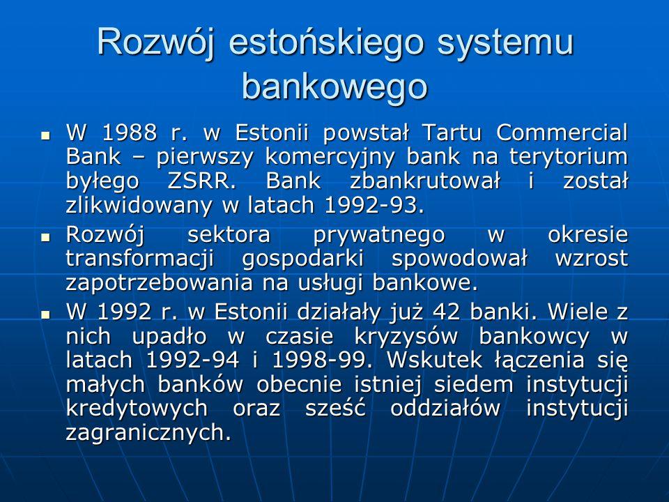 Rozwój estońskiego systemu bankowego W 1988 r. w Estonii powstał Tartu Commercial Bank – pierwszy komercyjny bank na terytorium byłego ZSRR. Bank zban