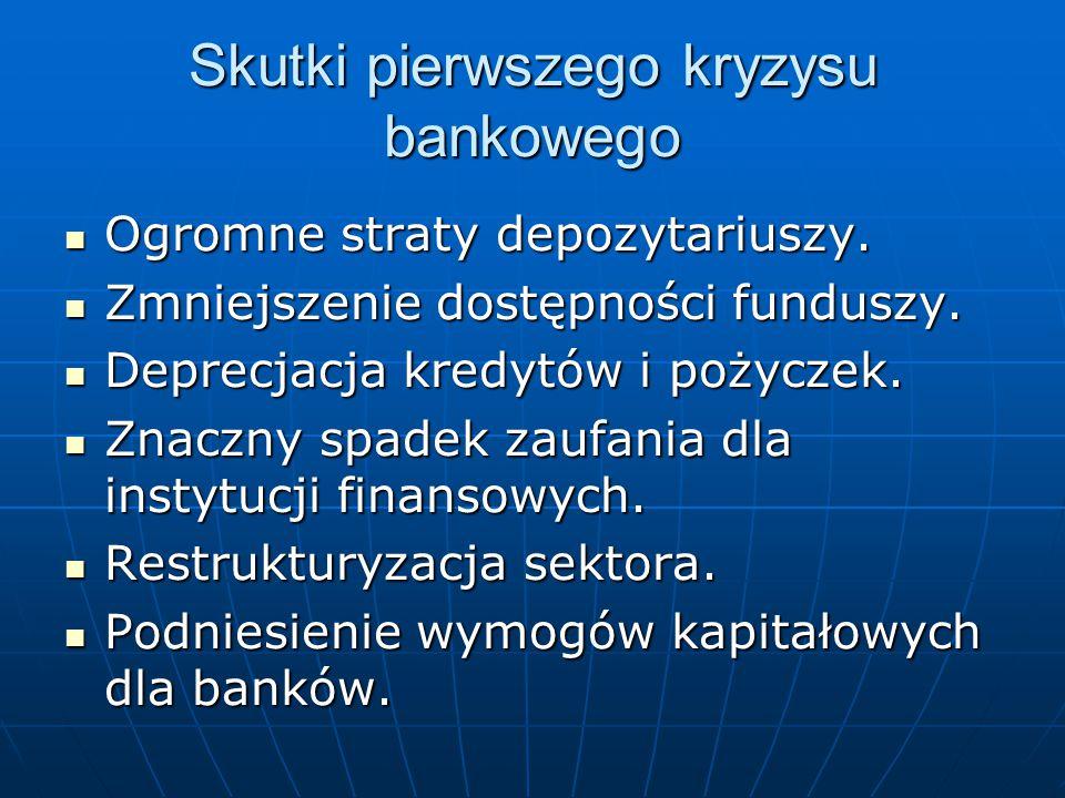 Skutki pierwszego kryzysu bankowego Ogromne straty depozytariuszy. Ogromne straty depozytariuszy. Zmniejszenie dostępności funduszy. Zmniejszenie dost