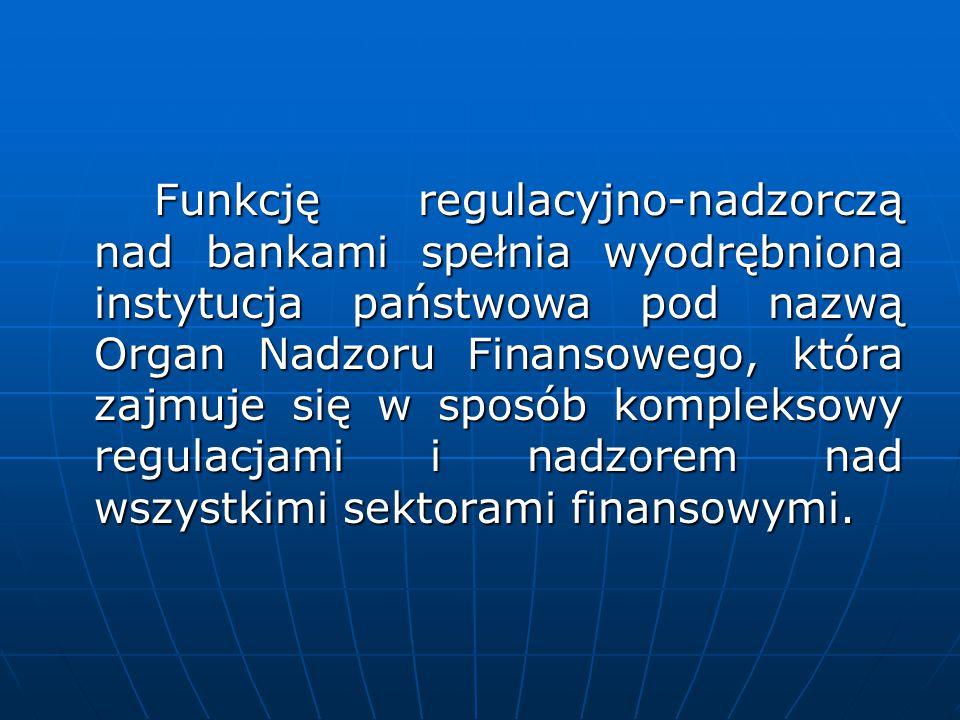 Funkcję regulacyjno-nadzorczą nad bankami spełnia wyodrębniona instytucja państwowa pod nazwą Organ Nadzoru Finansowego, która zajmuje się w sposób ko