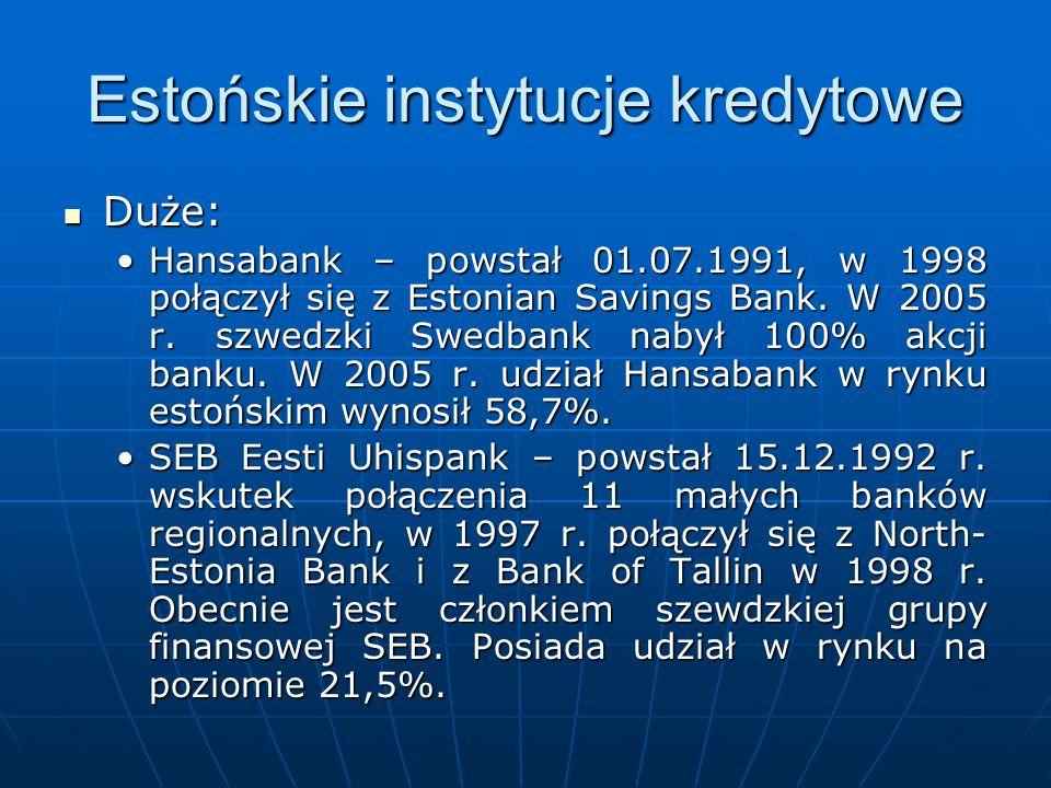 Estońskie instytucje kredytowe Duże: Duże: Hansabank – powstał 01.07.1991, w 1998 połączył się z Estonian Savings Bank. W 2005 r. szwedzki Swedbank na