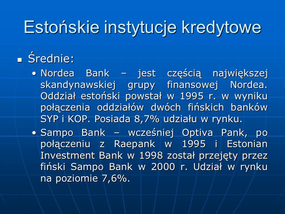 Estońskie instytucje kredytowe Średnie: Średnie: Nordea Bank – jest częścią największej skandynawskiej grupy finansowej Nordea. Oddział estoński powst