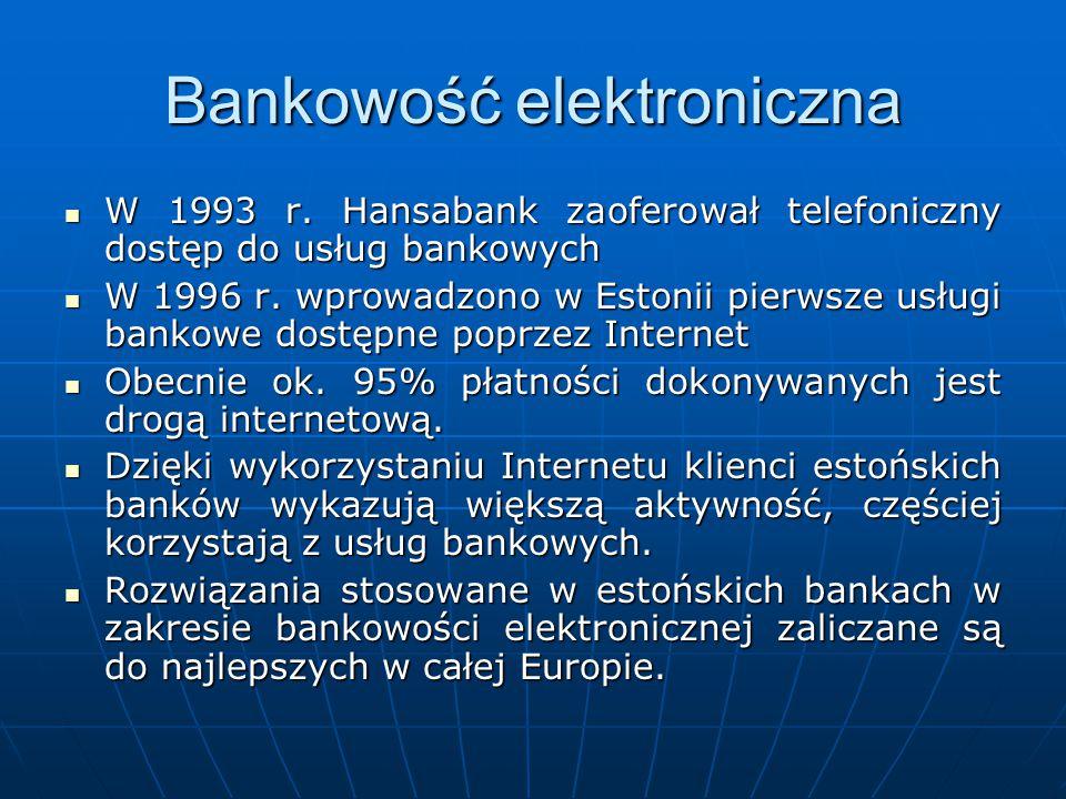 Bankowość elektroniczna W 1993 r. Hansabank zaoferował telefoniczny dostęp do usług bankowych W 1993 r. Hansabank zaoferował telefoniczny dostęp do us