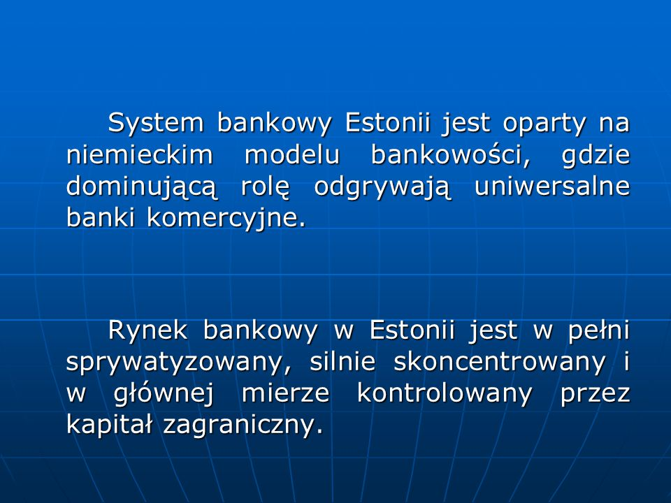 Historia bankowości w Estonii 1919 - Powstanie Banku Estonii 1919 - Powstanie Banku Estonii 1929 - Wprowadzenie estońskiej waluty 1929 - Wprowadzenie estońskiej waluty - korony 1940 - Aneksja Estonii przez ZSRR 1940 - Aneksja Estonii przez ZSRR 1990 - Przywrócenie Banku Estonii 1990 - Przywrócenie Banku Estonii 1991 – Odzyskanie niepodległości przez Estonię 1991 – Odzyskanie niepodległości przez Estonię 1992 - Zastąpienie rubla koroną – w pełni wymienialną walutą 1992 - Zastąpienie rubla koroną – w pełni wymienialną walutą 1992-1994 – pierwszy kryzys bankowy 1992-1994 – pierwszy kryzys bankowy 1998-1999 – drugi kryzys bankowy 1998-1999 – drugi kryzys bankowy 2004.06.28 – przystąpienie Estonii do ERM II 2004.06.28 – przystąpienie Estonii do ERM II