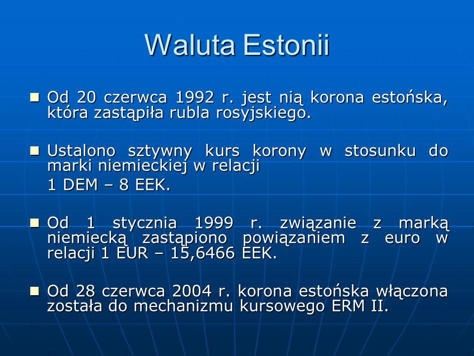 Waluta Estonii Od 20 czerwca 1992 r. jest nią korona estońska, która zastąpiła rubla rosyjskiego. Od 20 czerwca 1992 r. jest nią korona estońska, któr
