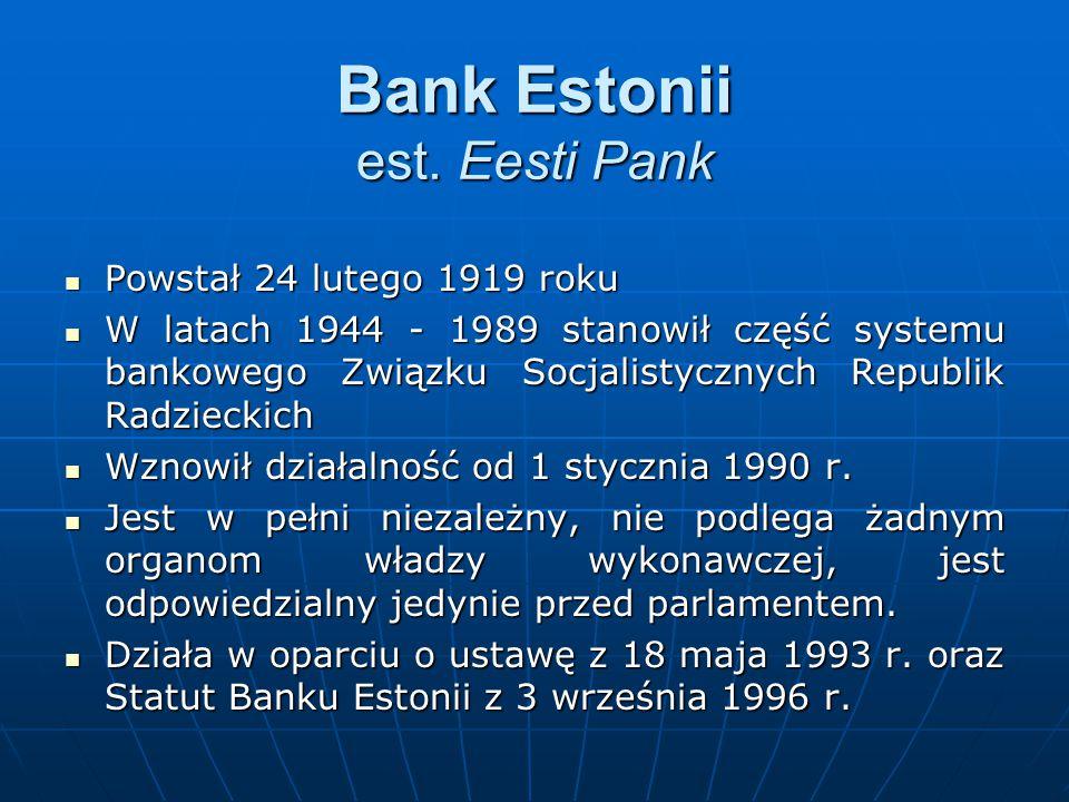 Bank Estonii est. Eesti Pank Powstał 24 lutego 1919 roku Powstał 24 lutego 1919 roku W latach 1944 - 1989 stanowił część systemu bankowego Związku Soc