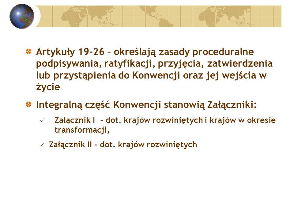Artykuły 19-26 – określają zasady proceduralne podpisywania, ratyfikacji, przyjęcia, zatwierdzenia lub przystąpienia do Konwencji oraz jej wejścia w życie Integralną część Konwencji stanowią Załączniki: Załącznik I - dot.