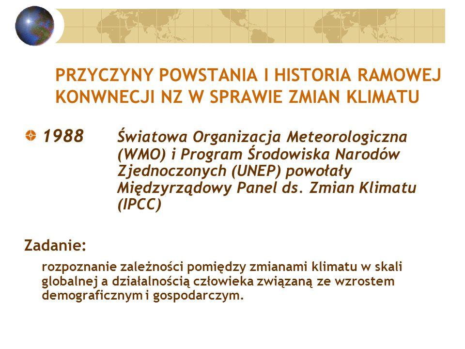 PRZYCZYNY POWSTANIA I HISTORIA RAMOWEJ KONWNECJI NZ W SPRAWIE ZMIAN KLIMATU 1988 Światowa Organizacja Meteorologiczna (WMO) i Program Środowiska Narodów Zjednoczonych (UNEP) powołały Międzyrządowy Panel ds.