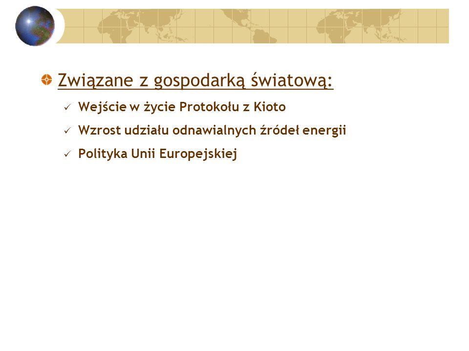 Związane z gospodarką światową: Wejście w życie Protokołu z Kioto Wzrost udziału odnawialnych źródeł energii Polityka Unii Europejskiej