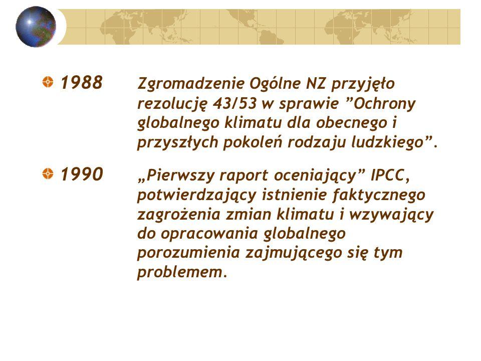 1988 Zgromadzenie Ogólne NZ przyjęło rezolucję 43/53 w sprawie Ochrony globalnego klimatu dla obecnego i przyszłych pokoleń rodzaju ludzkiego .
