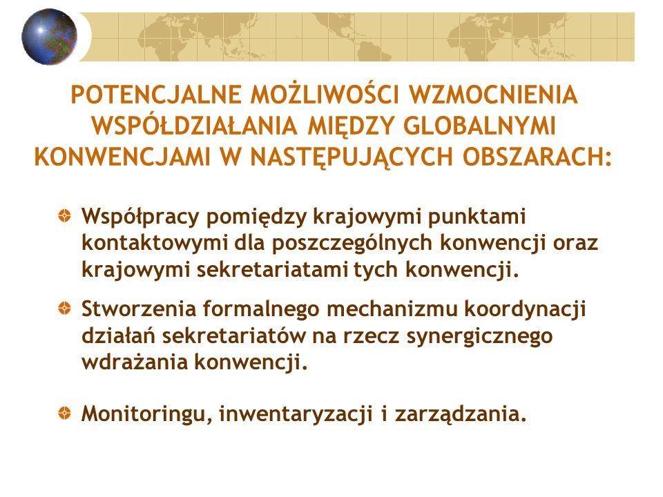 POTENCJALNE MOŻLIWOŚCI WZMOCNIENIA WSPÓŁDZIAŁANIA MIĘDZY GLOBALNYMI KONWENCJAMI W NASTĘPUJĄCYCH OBSZARACH: Współpracy pomiędzy krajowymi punktami kontaktowymi dla poszczególnych konwencji oraz krajowymi sekretariatami tych konwencji.