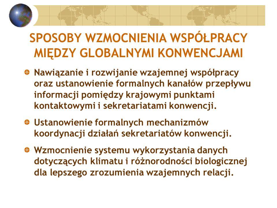 SPOSOBY WZMOCNIENIA WSPÓŁPRACY MIĘDZY GLOBALNYMI KONWENCJAMI Nawiązanie i rozwijanie wzajemnej współpracy oraz ustanowienie formalnych kanałów przepływu informacji pomiędzy krajowymi punktami kontaktowymi i sekretariatami konwencji.