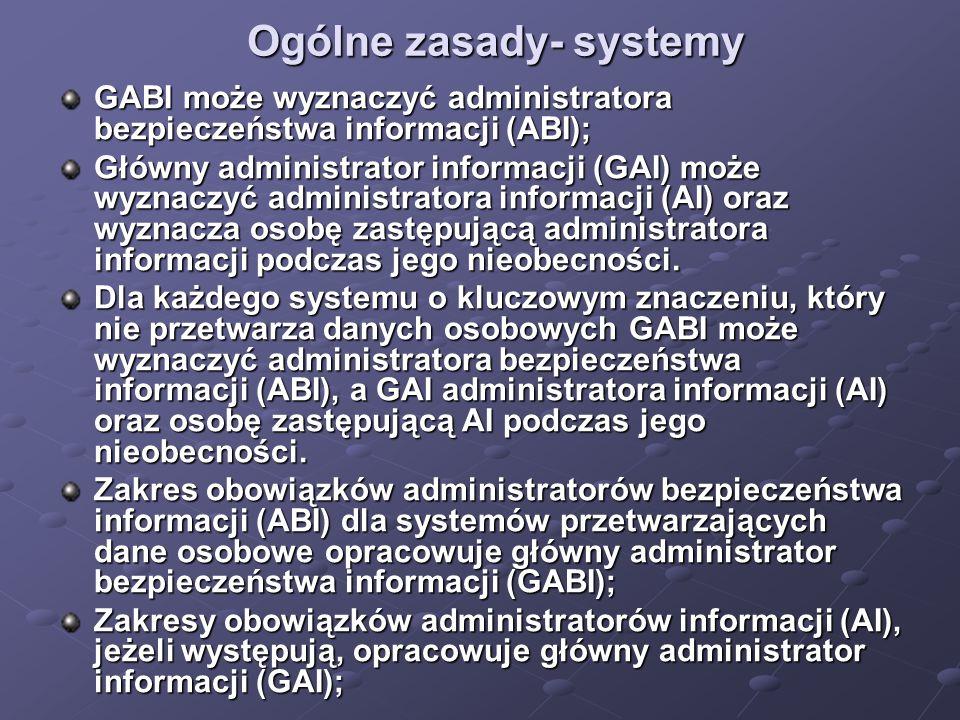 Ogólne zasady- systemy GABI może wyznaczyć administratora bezpieczeństwa informacji (ABI); Główny administrator informacji (GAI) może wyznaczyć administratora informacji (AI) oraz wyznacza osobę zastępującą administratora informacji podczas jego nieobecności.