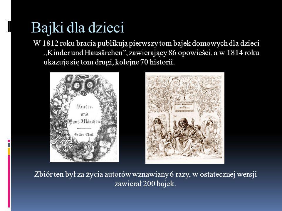 I jeszcze 186 innych… A oto lista wszystkich 200 baśni braci Grimm: Żabi król (Der Froschkönig oder der eiserne Heinrich) : Spółka kota z myszą (Katze und Maus in Gesellschaft) : Dziecko Matki Bożej (Marienkind) : Bajka o jednym takim, co wyruszył w świat by strach poznać (Märchen von einem, der auszog das Fürchten zu lernen) : O wilku i siedmiu koźlątkach (Der Wolf und die sieben jungen Geißlein) - tytuł alternatywny: Wilk i siedem koźlątek : Wierny Jan (Der treue Johannes) : Dobry interes (Der gute Handel) : O dziwnym grajku (Der wunderliche Spielmann) : Dwunastu braci (Die zwölf Brüder) : Spółka hultajska (Das Lumpengesindel) : Braciszek i siostrzyczka (Brüderchen und Schwesterchen) : Roszpunka (Rapunzel) : O trzech krasnoludkach w lesie (Die drei Männlein im Walde) : O trzech prządkach (Die drei Spinnerinnen) : Jaś i Małgosia (Hänsel und Gretel) : Trzy wężowe listki (Die drei Schlangenblätter) : Biały wąż (Die weiße Schlange) : Słomka, węgielek i groch (Strohhalm, Kohle und Bohne) : O rybaku i złotej rybce (Von dem Fischer und seiner Frau) - tytuł alternatywny: O rybaku i jego żonie : O dzielnym krawczyku (Das tapfere Schneiderlein) : Kopciuszek (Aschenputtel) : Zagadka (Das Rätsel) : O myszce, ptaszku i kiełbasce (Von dem Mäuschen, Vögelchen und der Bratwurst) : Pani Zima (Frau Holle) - tytuł alternatywny: Pani Zamieć : Siedem kruków (Die sieben Raben) : Czerwony Kapturek (Rotkäppchen) : Muzykanci z Bremy (Die Bremer Stadtmusikanten) - tytuł alternatywny: Muzykanci z miasta Bremy : Śpiewająca kość (Der singende Knochen) : Bajka o diable z trzema złotymi włosami (Der Teufel mit den drei goldenen Haaren) : Weszka i pchełka (Läuschen und Flöhchen) : Bezręka dziewczyna (Das Mädchen ohne Hände) : Roztropny Jaś (Der gescheite Hans) : O chłopcu, który u trzech mistrzów pobierał naukę (Die drei Sprachen) (w II wydaniu.