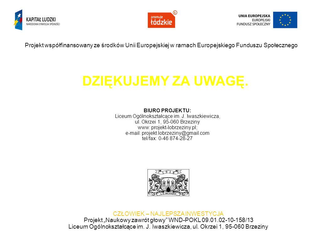 DZIĘKUJEMY ZA UWAGĘ. Projekt współfinansowany ze środków Unii Europejskiej w ramach Europejskiego Funduszu Społecznego CZŁOWIEK – NAJLEPSZA INWESTYCJA