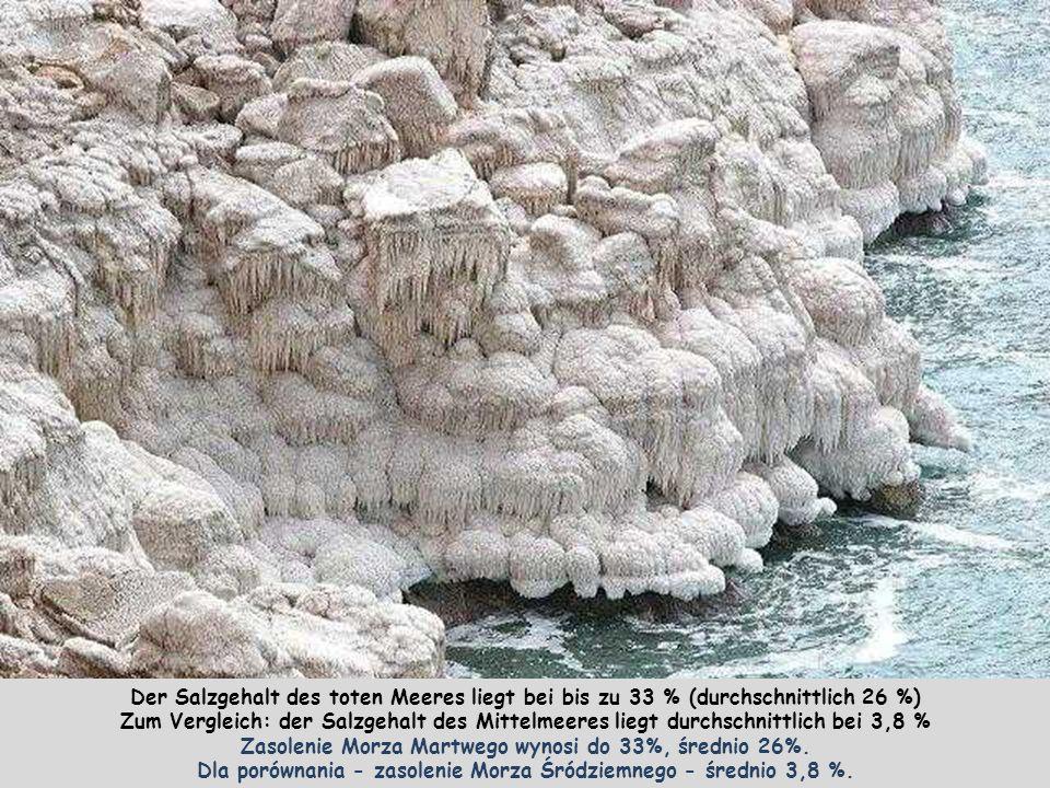 Der Salzgehalt des toten Meeres liegt bei bis zu 33 % (durchschnittlich 26 %) Zum Vergleich: der Salzgehalt des Mittelmeeres liegt durchschnittlich bei 3,8 % Zasolenie Morza Martwego wynosi do 33%, średnio 26%.