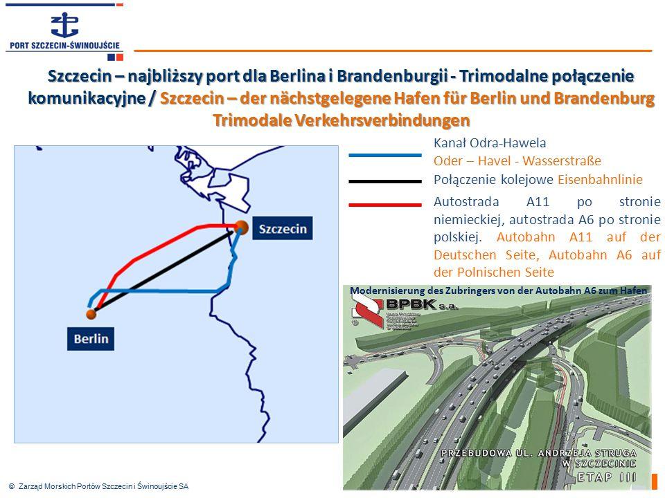 © Zarząd Morskich Portów Szczecin i Świnoujście SA Autostrada A11 po stronie niemieckiej, autostrada A6 po stronie polskiej. Autobahn A11 auf der Deut