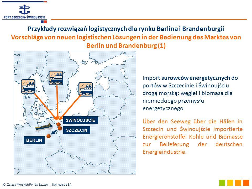 © Zarząd Morskich Portów Szczecin i Świnoujście SA Przykłady rozwiązań logistycznych dla rynku Berlina i Brandenburgii Vorschläge von neuen logistisch