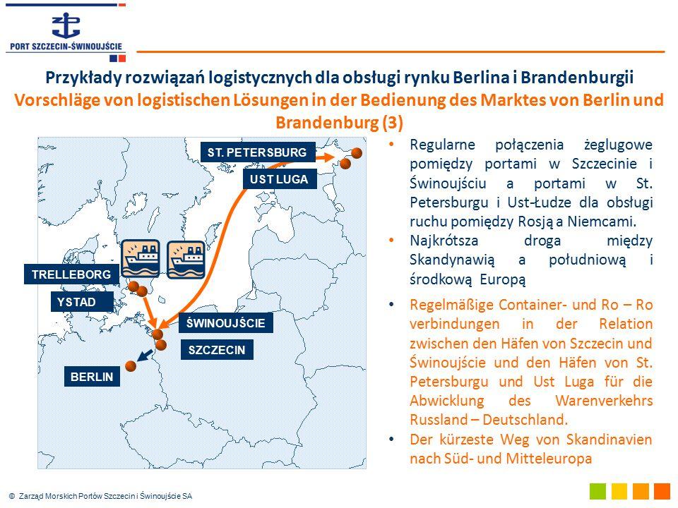 © Zarząd Morskich Portów Szczecin i Świnoujście SA Przykłady rozwiązań logistycznych dla obsługi rynku Berlina i Brandenburgii Vorschläge von logistis