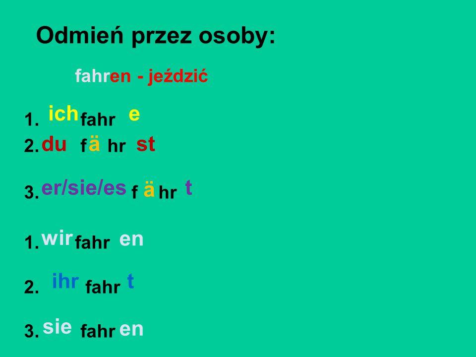 Przetłumacz na j.niemiecki: 1. ono mówi – 2. ty jedziesz – 3.