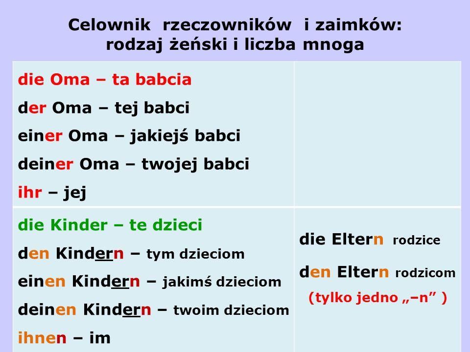 Celownik rzeczowników i zaimków: rodzaj żeński i liczba mnoga die Oma – ta babcia der Oma – tej babci einer Oma – jakiejś babci deiner Oma – twojej ba