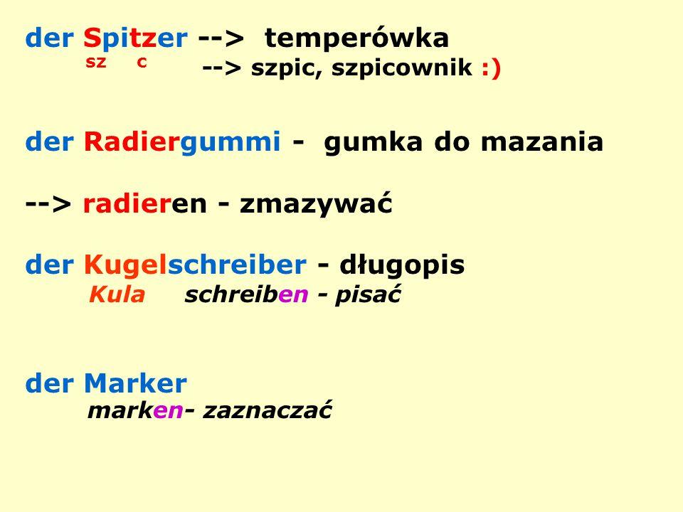 der Spitzer --> temperówka sz c --> szpic, szpicownik :) der Radiergummi - gumka do mazania --> radieren - zmazywać der Kugelschreiber - długopis Kula