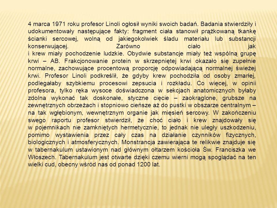 4 marca 1971 roku profesor Linoli ogłosił wyniki swoich badań.