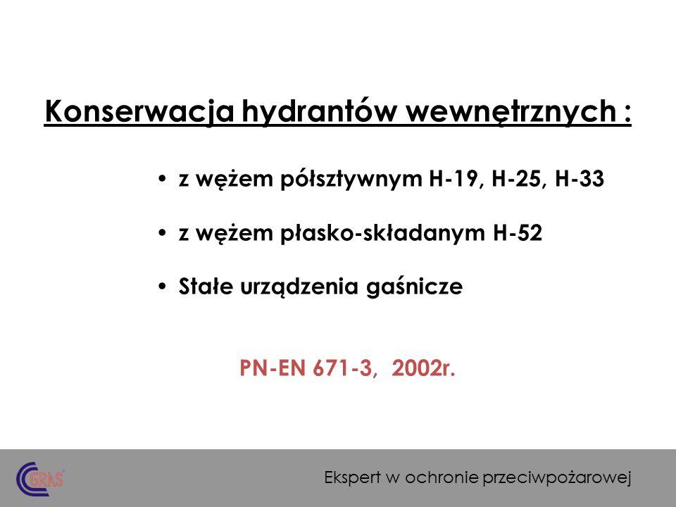 Wprowadzenie: Podstawą do określenia programów i przedsięwzięć dotyczących kontroli i konserwacji stałych urządzeń gaśniczych jest : 1.Polska norma PN-EN 671-3 z 2002 r.