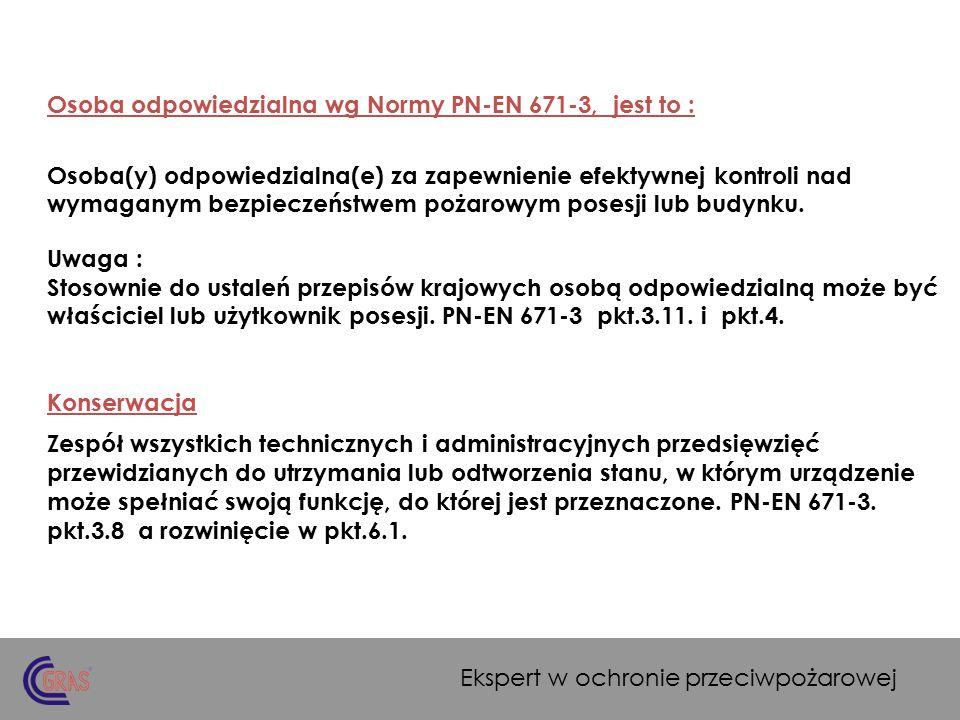 Przeglądy i konserwacja hydrantów wewnętrznych: Doroczne przeglądy i konserwacje pkt.6.1.