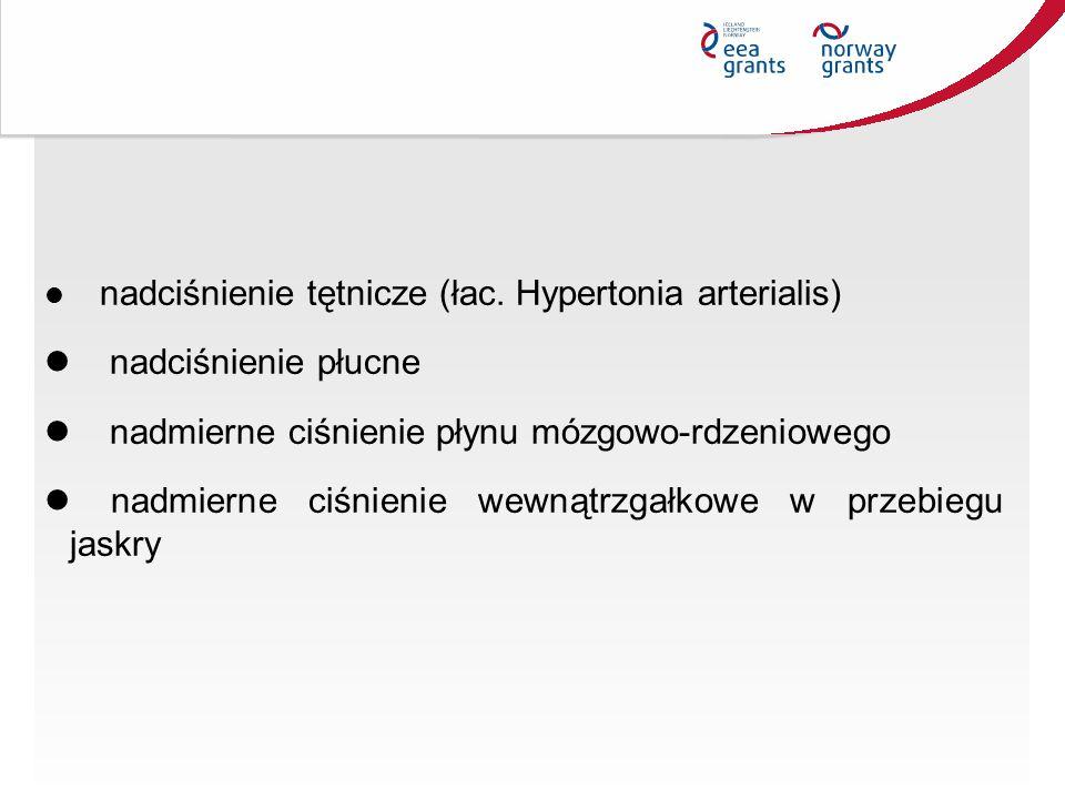 nadciśnienie tętnicze (łac. Hypertonia arterialis) nadciśnienie płucne nadmierne ciśnienie płynu mózgowo-rdzeniowego nadmierne ciśnienie wewnątrzgałko