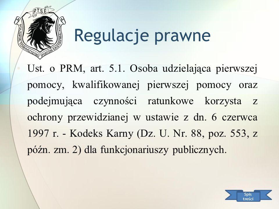 Regulacje prawne Ust. o PRM, art. 5.1. Osoba udzielająca pierwszej pomocy, kwalifikowanej pierwszej pomocy oraz podejmująca czynności ratunkowe korzys