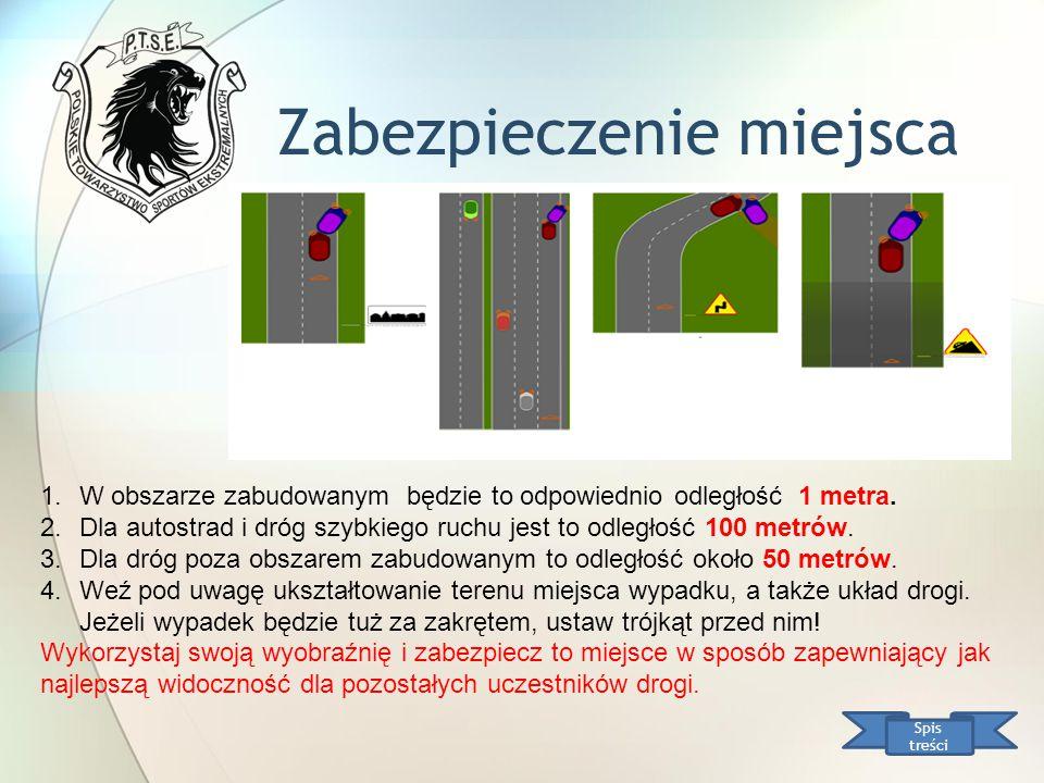 Zabezpieczenie miejsca Spis treści 1.W obszarze zabudowanym będzie to odpowiednio odległość 1 metra. 2.Dla autostrad i dróg szybkiego ruchu jest to od