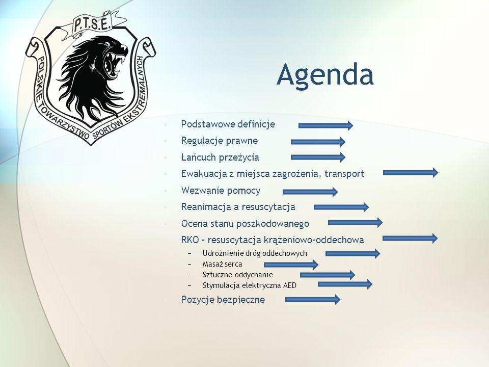 Agenda Podstawowe definicje Regulacje prawne Łańcuch przeżycia Ewakuacja z miejsca zagrożenia, transport Wezwanie pomocy Reanimacja a resuscytacja Oce