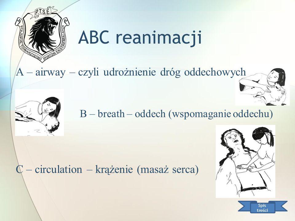 ABC reanimacji A – airway – czyli udrożnienie dróg oddechowych Spis treści B – breath – oddech (wspomaganie oddechu) C – circulation – krążenie (masaż