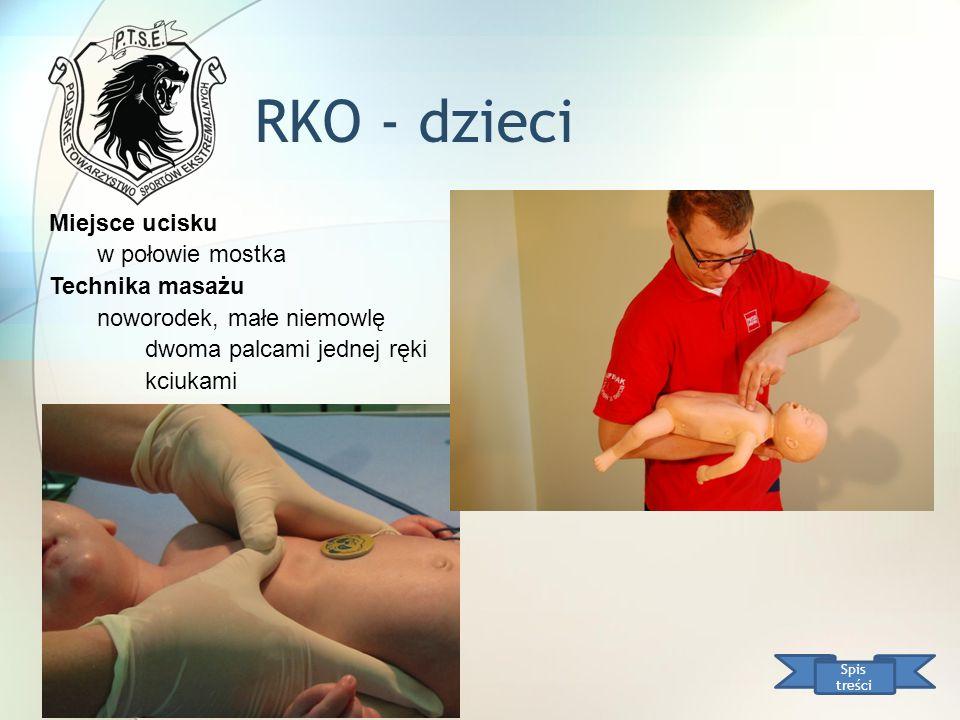 RKO - dzieci Spis treści Miejsce ucisku w połowie mostka Technika masażu noworodek, małe niemowlę dwoma palcami jednej ręki kciukami