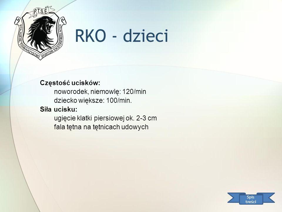 RKO - dzieci Spis treści Częstość ucisków: noworodek, niemowlę: 120/min dziecko większe: 100/min. Siła ucisku: ugięcie klatki piersiowej ok. 2-3 cm fa
