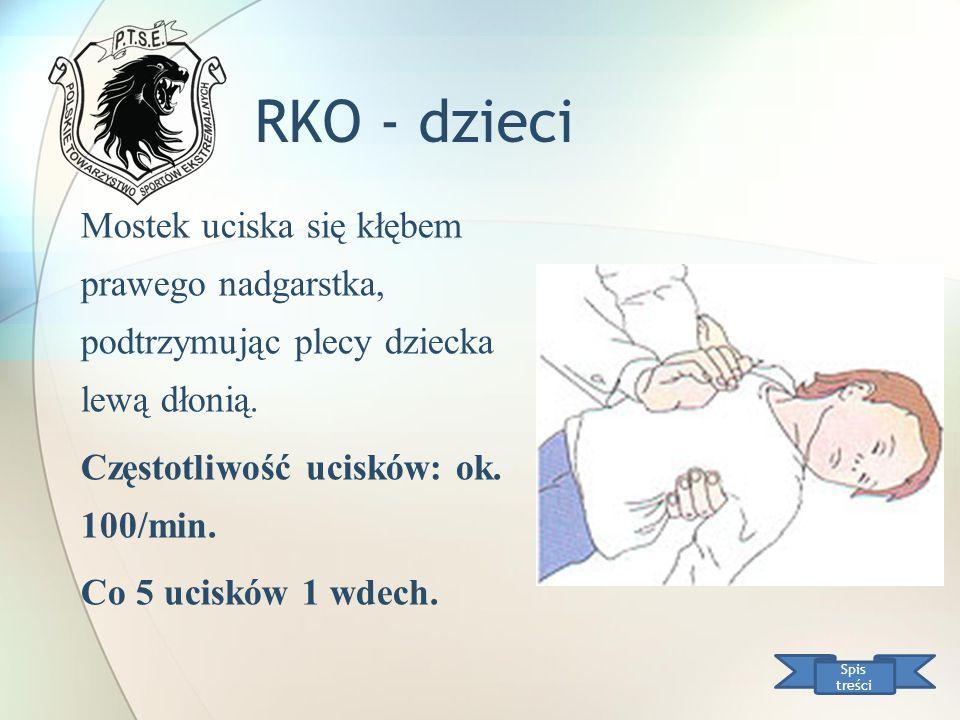 RKO - dzieci Spis treści Mostek uciska się kłębem prawego nadgarstka, podtrzymując plecy dziecka lewą dłonią. Częstotliwość ucisków: ok. 100/min. Co 5