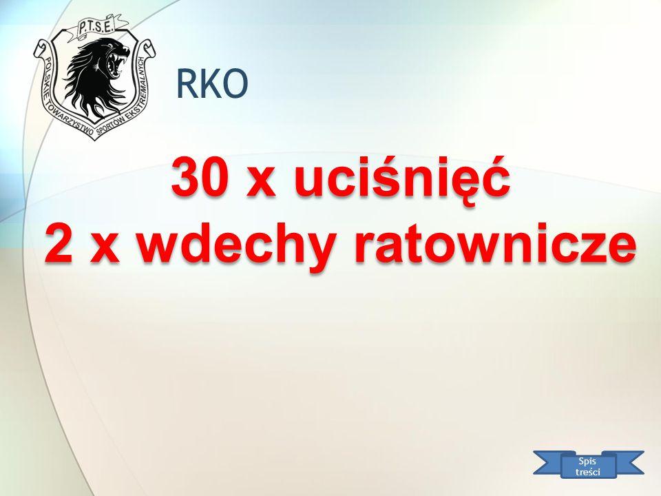 RKO Spis treści 30 x uciśnięć 2 x wdechy ratownicze 30 x uciśnięć 2 x wdechy ratownicze