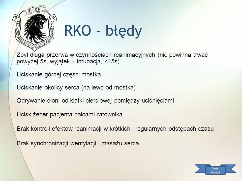 RKO - błędy Spis treści Zbyt długa przerwa w czynnościach reanimacyjnych (nie powinna trwać powyżej 5s, wyjątek – intubacja, <15s) Uciskanie górnej cz