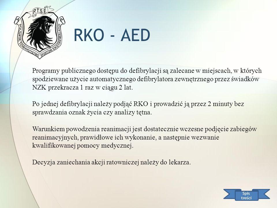 RKO - AED Spis treści Programy publicznego dostępu do defibrylacji są zalecane w miejscach, w których spodziewane użycie automatycznego defibrylatora
