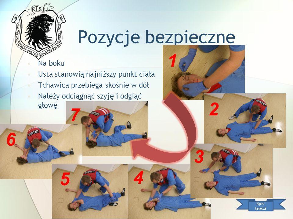 Pozycje bezpieczne Na boku Usta stanowią najniższy punkt ciała Tchawica przebiega skośnie w dół Należy odciągnąć szyję i odgiąć głowę Spis treści 1 2